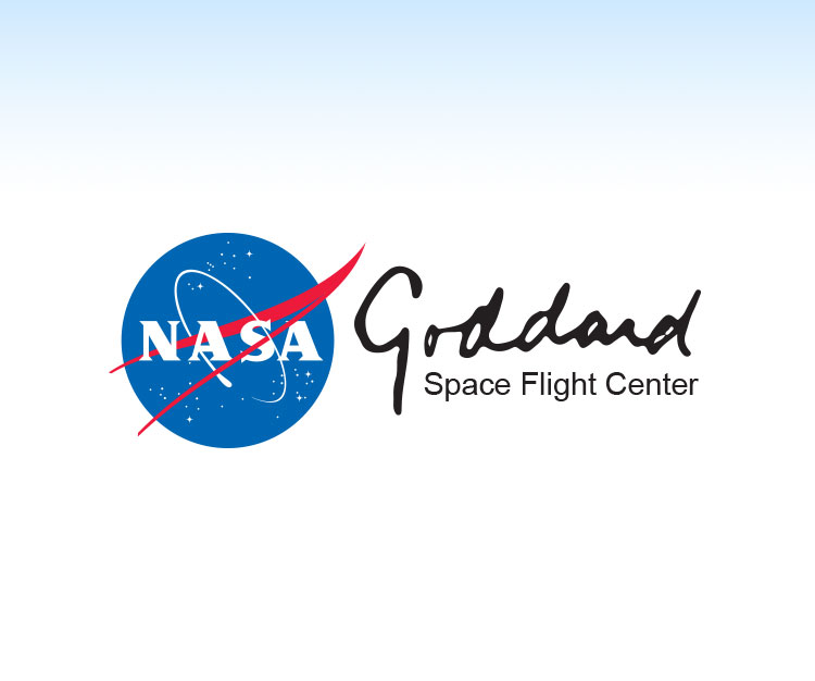 NASA logo with a dark blue sky in the background